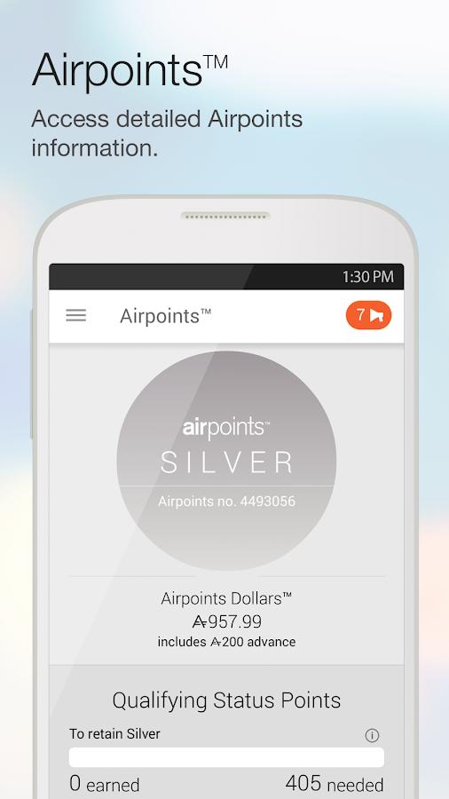 Air NZ mobile app- screenshot