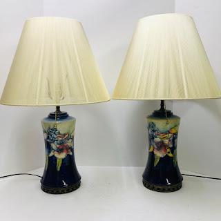 William Moorcroft Style Table Lamp Pair
