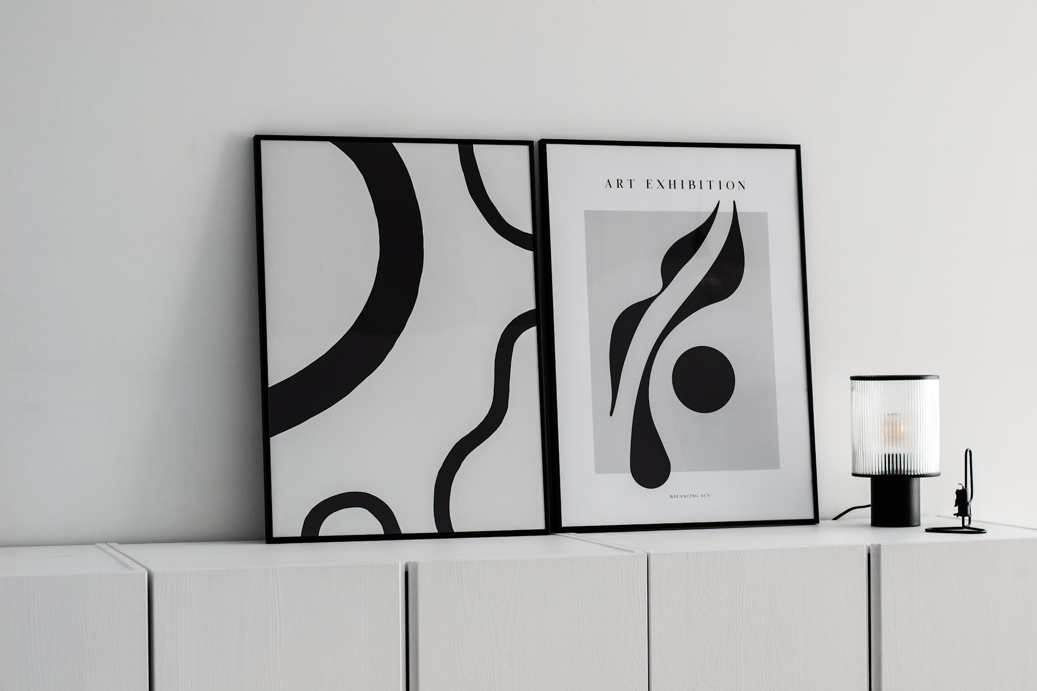 Desenio, posters, black white, minimal, zwart wit, Abstract shapes, balancing act