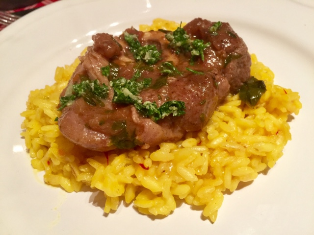 Veal osso buco milanese with a saffron risotto