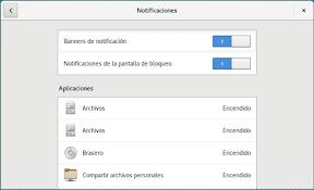 Como configurar GNOME con detalle. Configuración personal. Notificaciones. Opciones.