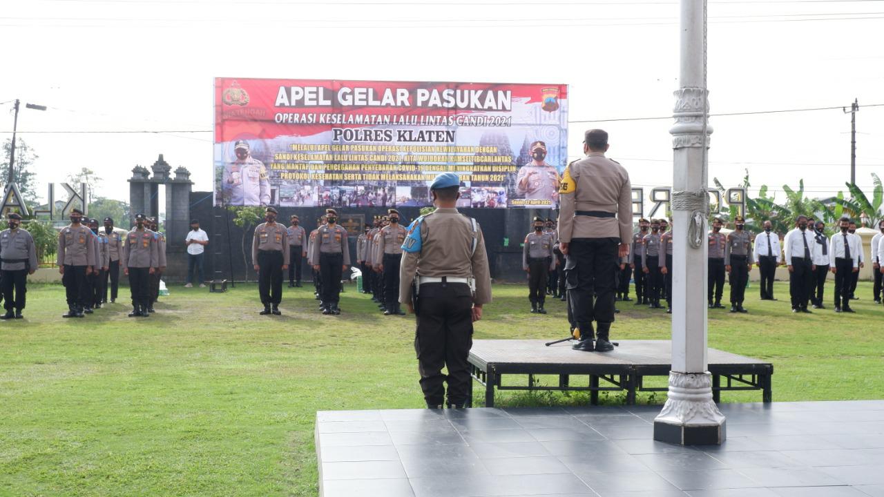 Edukasi Larangan Mudik Lebaran, Polres Klaten Gelar Pasukan Operasi Keselamatan Candi 2021
