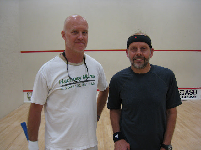 Doug Carr, finalist, and Mark Dickenson, winner, of the Men's 50+ flight.