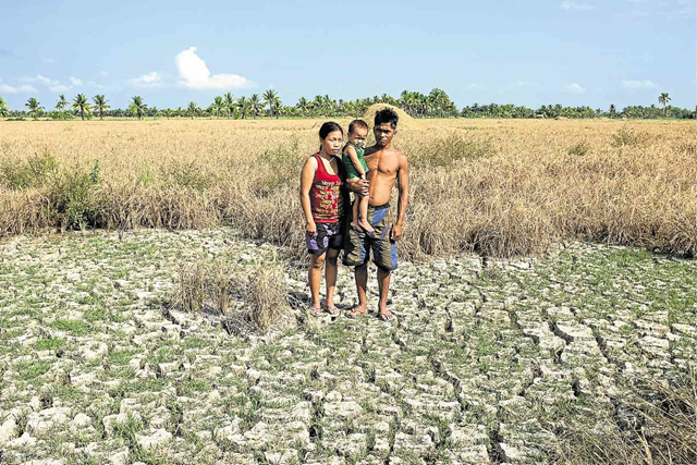 A family stands in a dessicated rice field in M'lang, North Cotabato, Philippines, which has dried up due to drought. Photo: Karlos Manlupig / INQUIRER MINDANAO