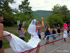 Why yes, people DID run the Warrior Dash in wedding dresses. There were also a TON of people in old bridesmaid/prom dresses.
