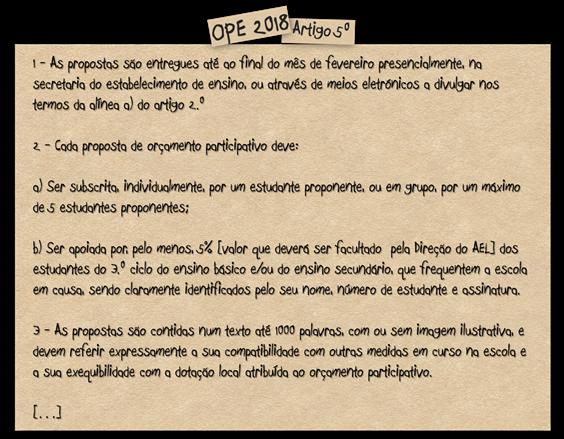 OPE 2018 Artigo 5º