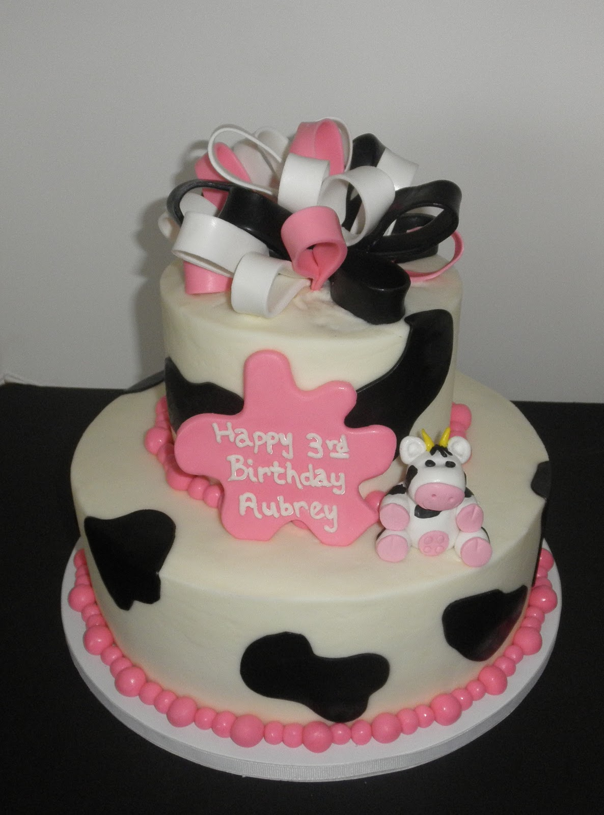 Sweet Ts Cake Design Cow And Hot Pink Black White Ribbon 3rd