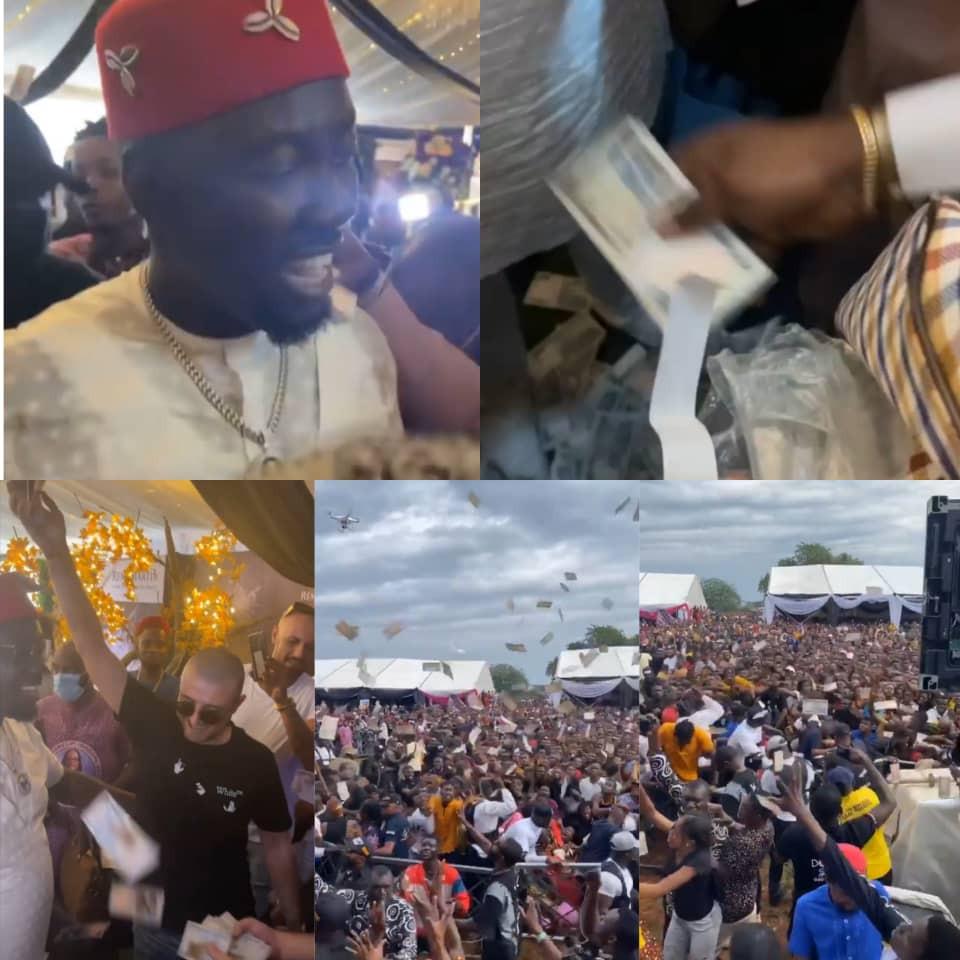 Naira rain at Obi Cubana's mum's funeral as residents and bouncers struggle to pick money sprayed (videos)