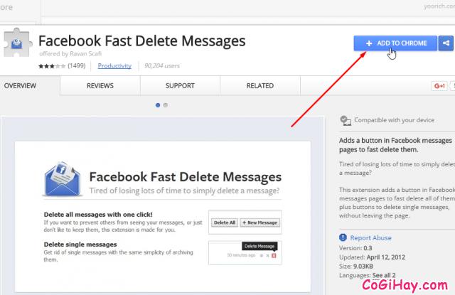 cài đặt ứng dụng xóa tin nhắn facebook