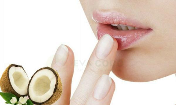 dầu dừa giúp môi mềm mịn, căng bóng trong mùa hanh khô