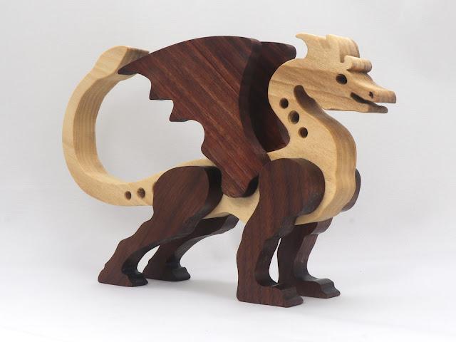 Handmade Wood Dragon Made From Poplar and Walnut Hardwoods from odinstoyfactory