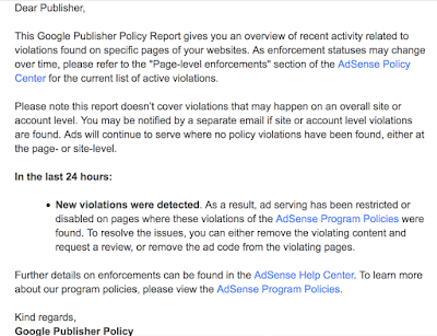 Policy violation notification query - Google Product Forums