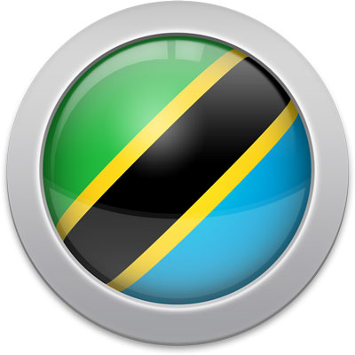Tanzanian flag icon with a silver frame