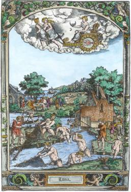 Woodcut Of Luna From Hans Sebald Beham Series On The Seven Planets, Emblems Related To Alchemy