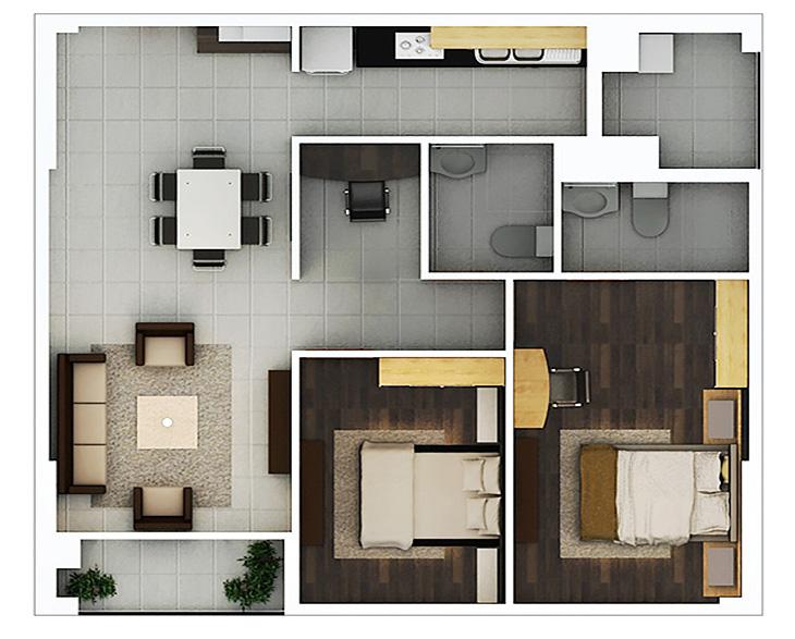 Phối cảnh 2D căn hộ 2 phòng ngủ DT: 83.09m2