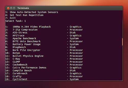Phoronix Test Suite su Ubuntu - scelta del test da effettuare