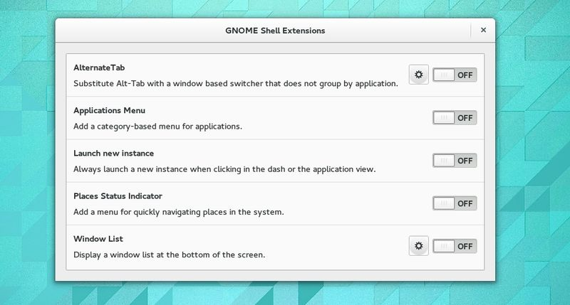 Gnome Shell Extensions Preferences Tool in Gnome 3.14