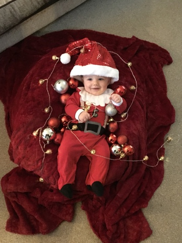 Luke wore a little Father Christmas onesie from Next which looked totally  gorgeous. However it would appear that Luke has a larger than average head  and the ... 0d15286556f