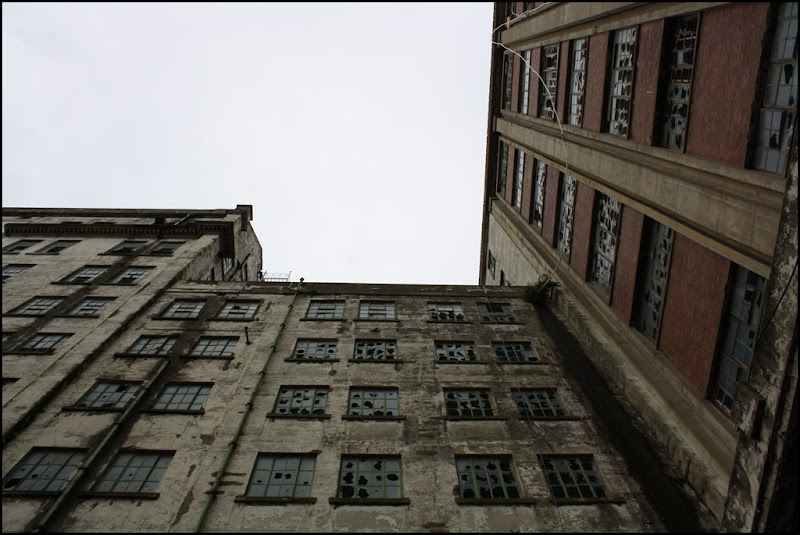 Looking up at Millennium Mills