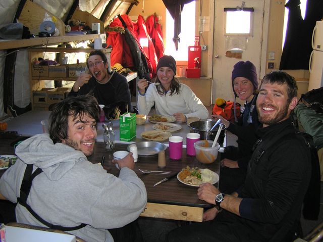 Eating dinner at Lake Fryxell camp, 2008-2009 season.