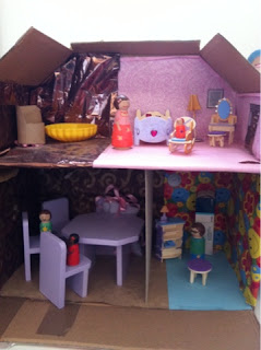 DIY cardboard box dollhouse