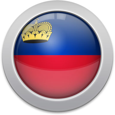 Liechtenstein flag icon with a silver frame
