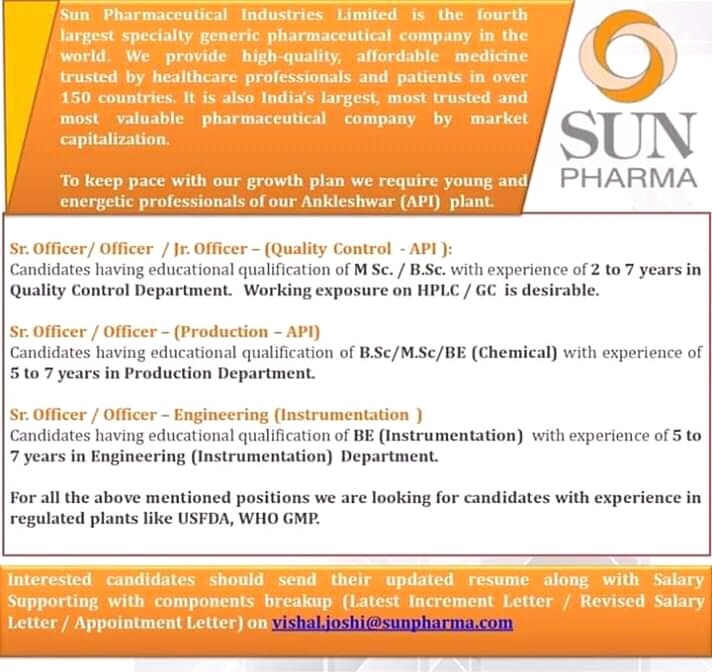 Sun Pharmaceuticals Ltd – Urgently Opening for Quality Control, Production, Engineering | Apply Now