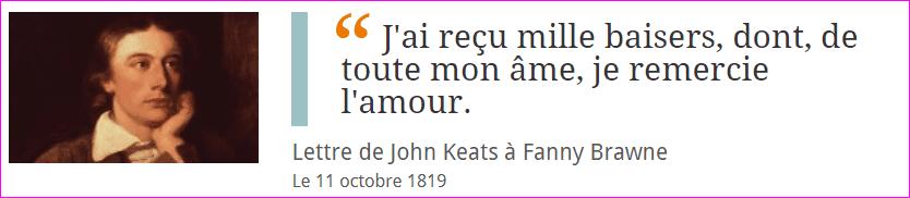 Lettre de John Keats à Fanny Brawne