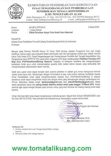 Pendaftaran Pelatihan Penulisan Karya Tulis Ilmiah Guru SMP SMA SMK (IPA/Fisika/Kimia/Biologi) Tahun 2019 KTI Guru Tingkat Nasional, tomatalikuang.com