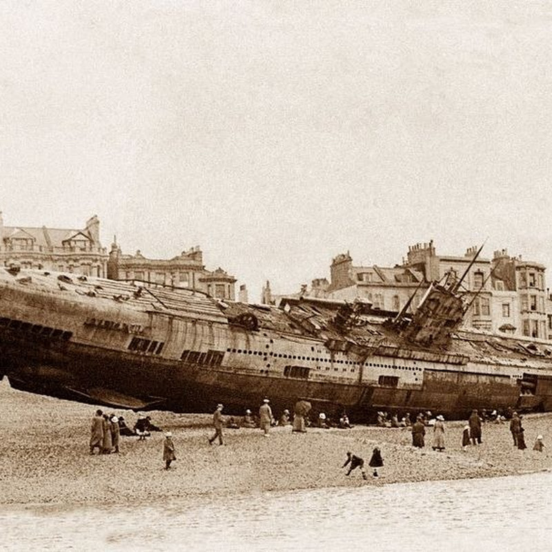 The Beached German Submarine U-118 at Hastings, England