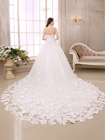 Charming Sweetheart Little Flowers A-Line Chapel Train Wedding Dress (11341945)