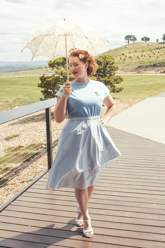 80s does 1950's cheerleader in baby blue and white stripe | Lavender & Twill