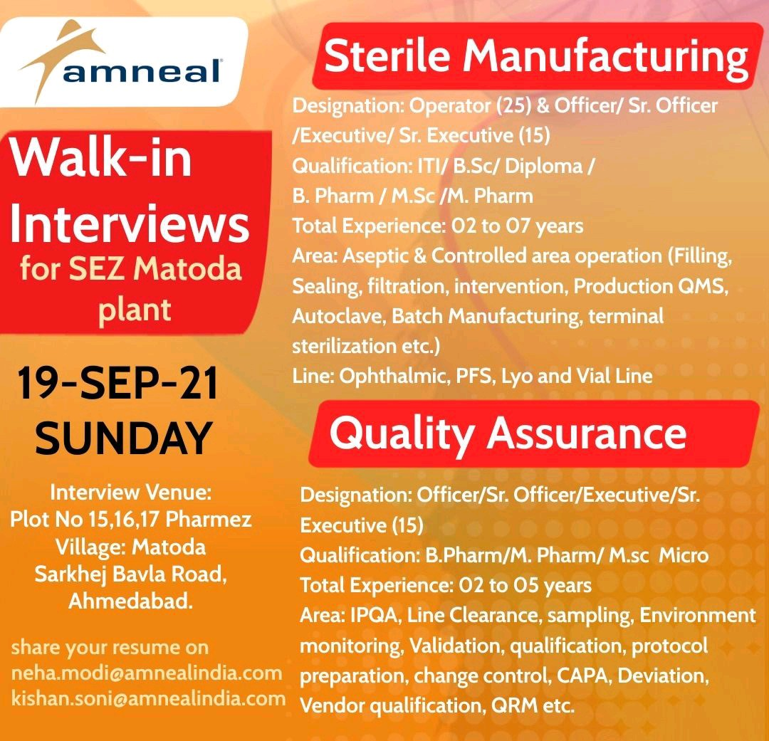 Walk-in For Production & Quality Assurance By Amneal Pharma
