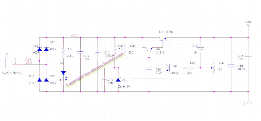Mạch Ứng Dụng Thực Tế: Nguồn ổn áp điều chỉnh được điện áp ra.
