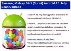 Sprint Samsung Galaxy S II Epic 4G Touch Android 4.1 Jelly Bean update now ...