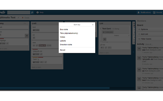 Ultimello, the features pack for Trello Screenshot