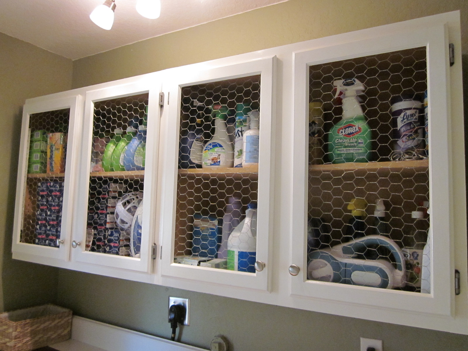 Chicken Wire Cabinets Save Laundry Room