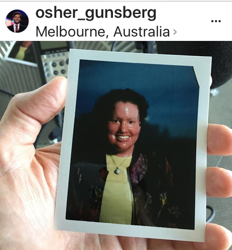 Polaroid of Carly Findlay in Osher Gunsberg's hand.