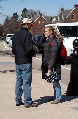 Sometimes a follower of Christ would stop and thank us for being on campus, like this young lady did with John. Very encouraging!!! :)