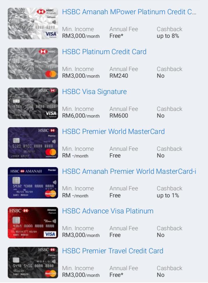 7 Kad Kredit HSBC Popular