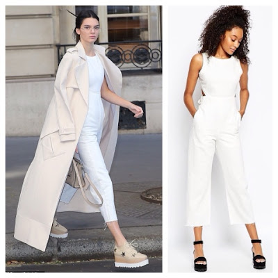 0e34d80d6c Kendall Jenner Riding a Carousel at Paris Fashion Week in ASOS White Denim  Jumpsuit