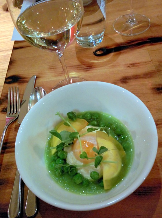 Chilled English Pea Broth with Orofino 2009 Riesling