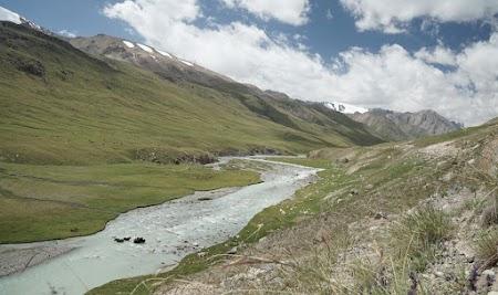 Yaks stehen im eiskalten Wasser des Üch Emcheek