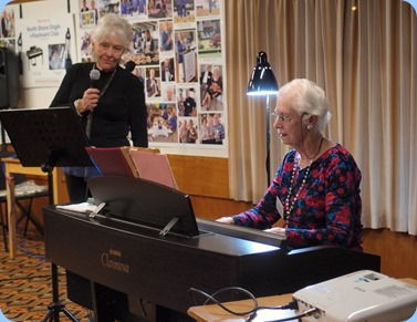 Visitor Leslie Clapperton sang for us with Dorothy Waddel accompanying on Clavinova. Photo Courtesy of Dennis Lyons.