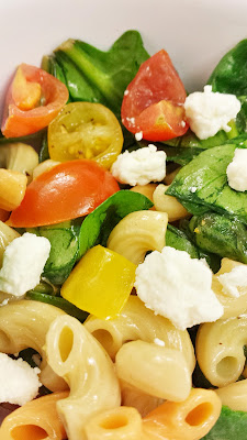 Lemony Spinach and Pasta Salad with Cherry Tomatoes and Feta Recipe: very easy to make and quick to prepare the day before, and substantial enough to feed a group and can be cold or room temperature, perfect for a potluck recipe