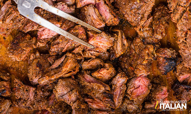 chipotle steak in a pile