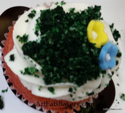 Woodlands baby shower cake cupcakes with edible flowers and moss