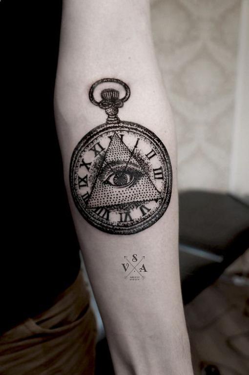 dotwork_olho_de_horus_relgio_de_bolso_de_tatuagem