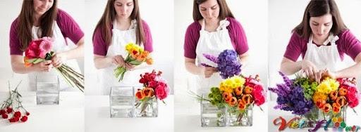 Cắm hoa đa sắc màu cho ngày phụ nữ