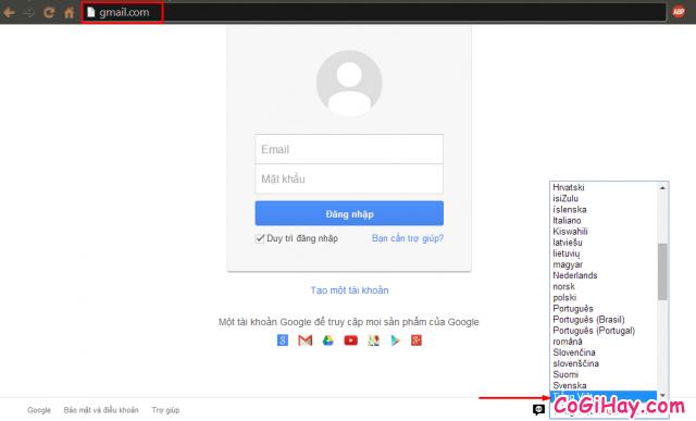 trang đăng nhập gmail